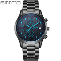 2016 Mens Watches Top Brand GIMTO Men Military Sport Quartz Wristwatches Full Steel Luxury Quartz Watch