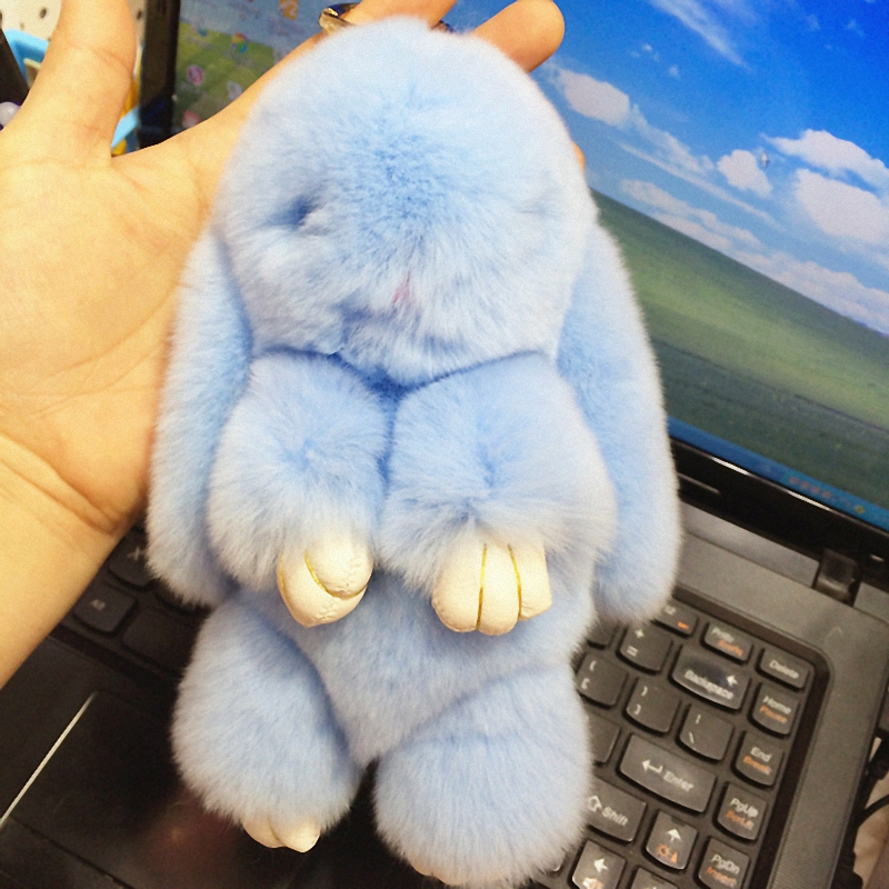 18cmRex rabbit Furs Keychain Pendant Bag Car Charm Cute Mini Rabbit ToyDoll Real Fur Keychains Women Bag KeychainK015-llightblue