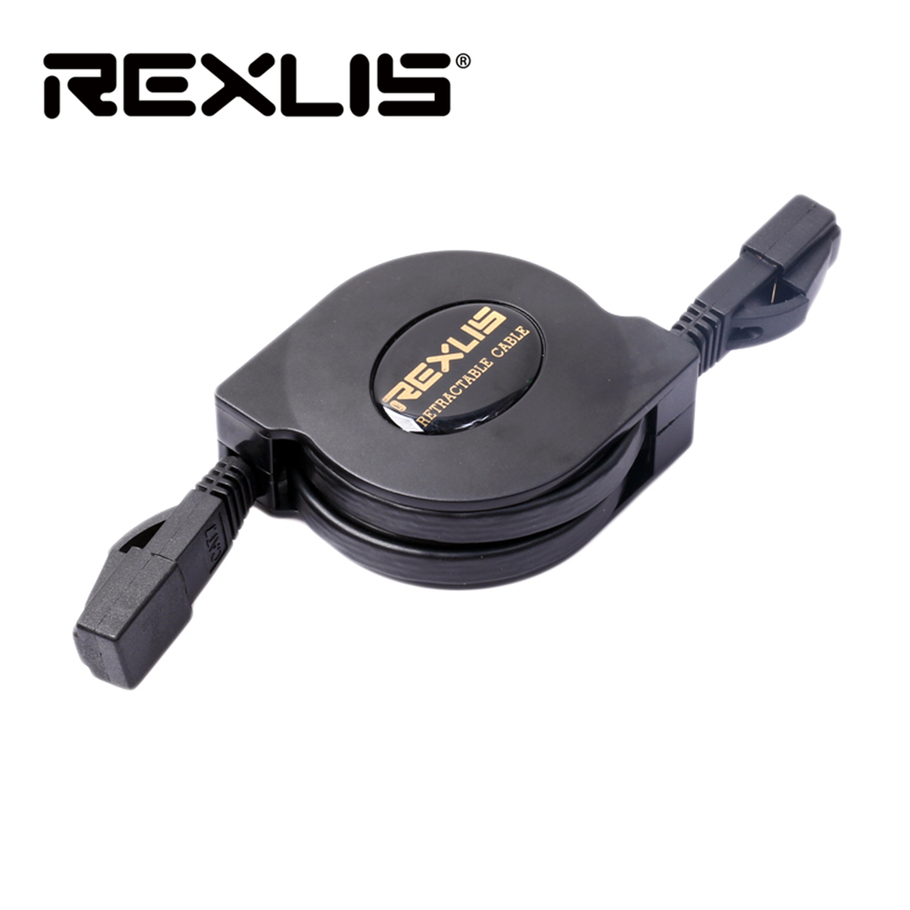 REXLIS Retractable Flexible Flat CAT-6 RJ45 Network Ethernet Patch Cable For Modem Router LAN Network 1m 2m