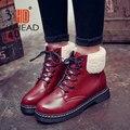 Buena Calidad Rusia Mujer Primavera Botas de las mujeres botines con cordones Zapatos Calientes de la Felpa de Arranque UPB07