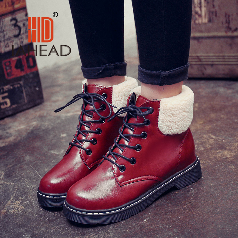 IAHEAD Shoes Women Russia Female  Winter Boots women ankle boots lace-up Shoes Warm Plush Boot Snow Boots UPB07 yin qi shi man winter outdoor shoes hiking camping trip high top hiking boots cow leather durable female plush warm outdoor boot