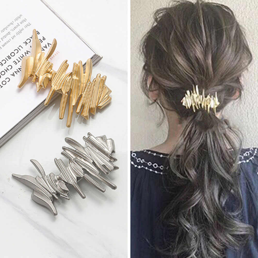 Japan Women Hollow Bowknot Hair Combs Metal Gold Silver Color Tassel Hairpin Hair Accessories Geometric Irregular Hairgrip Clips