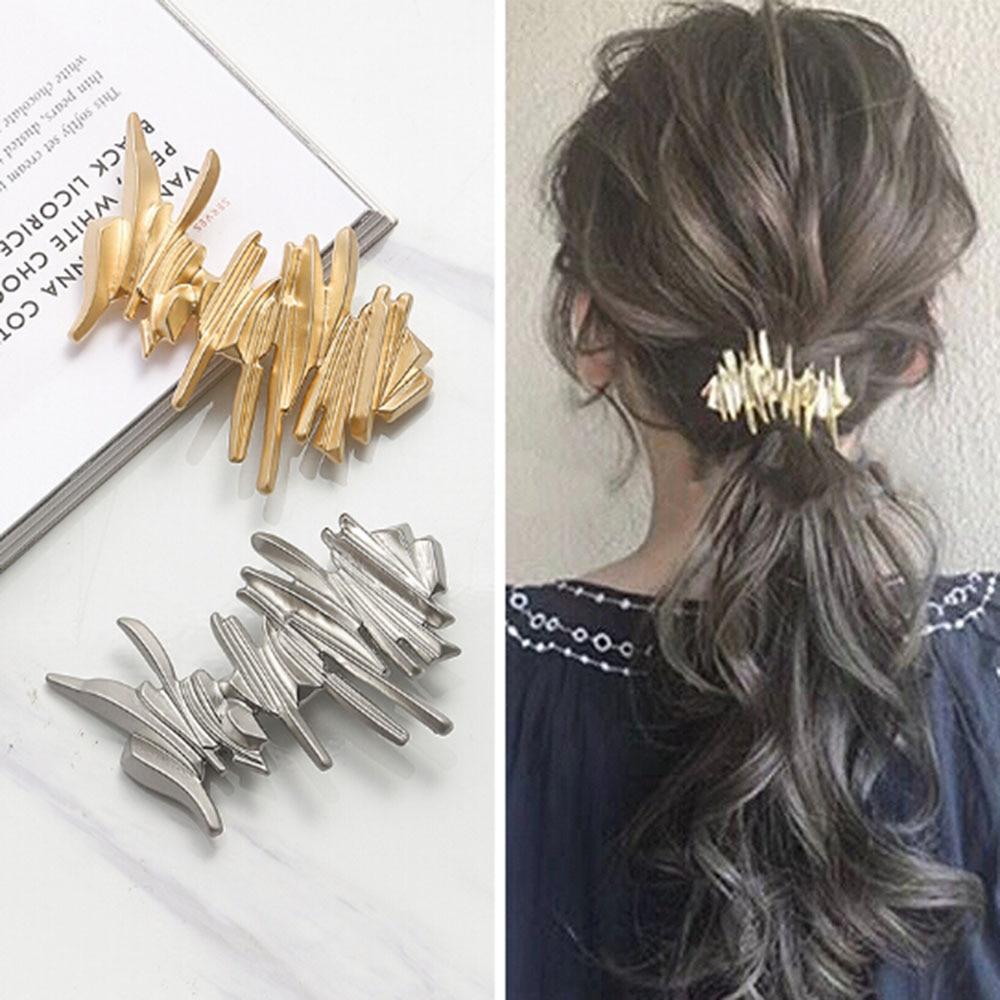 Japan Women Hollow Bowknot Hair Combs Metal Gold Silver Color Tassel Hairpin Hair Accessories Geometric Irregular Hairgrip Clips