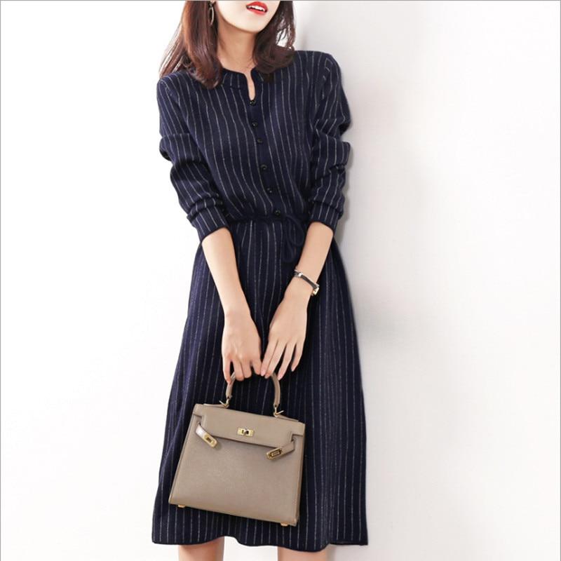 Elegant Women Striped Woolen Knitted Dress Fall Winter Office Lady Drawstring Nipped Waists Formal Dress For Women A-Line Dress