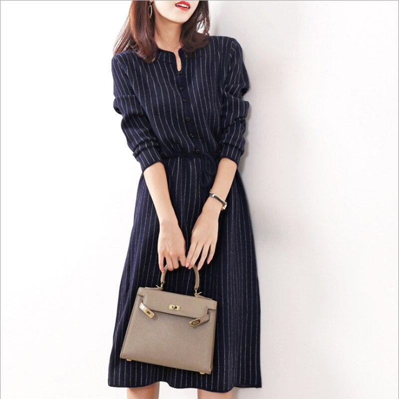 Elegant Women Striped Woolen Knitted Dress Fall Winter Office Lady Drawstring Nipped Waists Formal Dress For Women A Line Dress