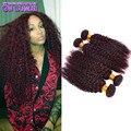 Бордовый Перуанский Вьющиеся Волосы 99j Девственные Перуанские Наращивание Волос Красный Кудрявый Вьющихся Волос 4 Связки Премиум Реми Волосы Частей Стоимость