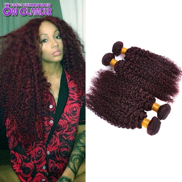 Burgundy Peruvian Curly Hair 99j Virgin Peruvian Hair Extensions Red