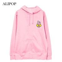 ALIPOP Kpop BTS BT21 Bangtan Boys Album Thin Hoodie Cotton Hoodies With Hat Pullover Printed Long