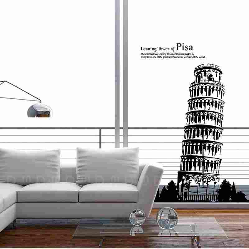 DCTAL Tour Penchée de Pise Décalque Repère Torre di Pisa Mur Autocollants Décalques Affiche Parede Décor À La Maison Tour de Pise autocollant