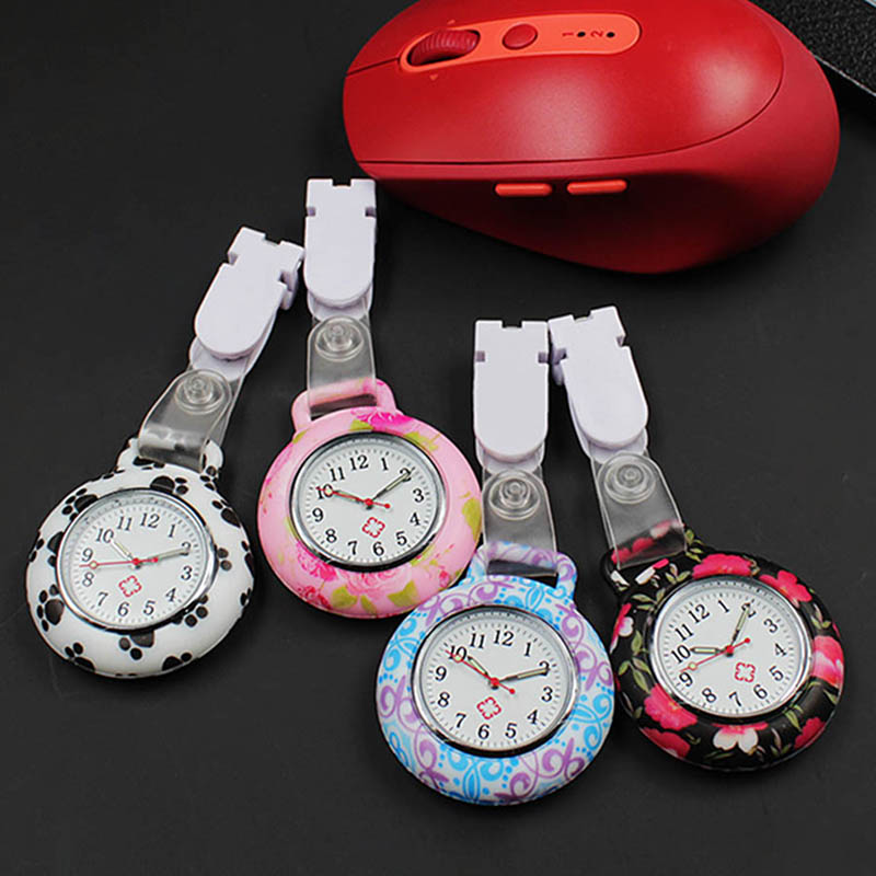 Nurses Watches Doctor Quartz Fob Watch Printing Flowers Silicone Case Band Pocket Watch LL@17