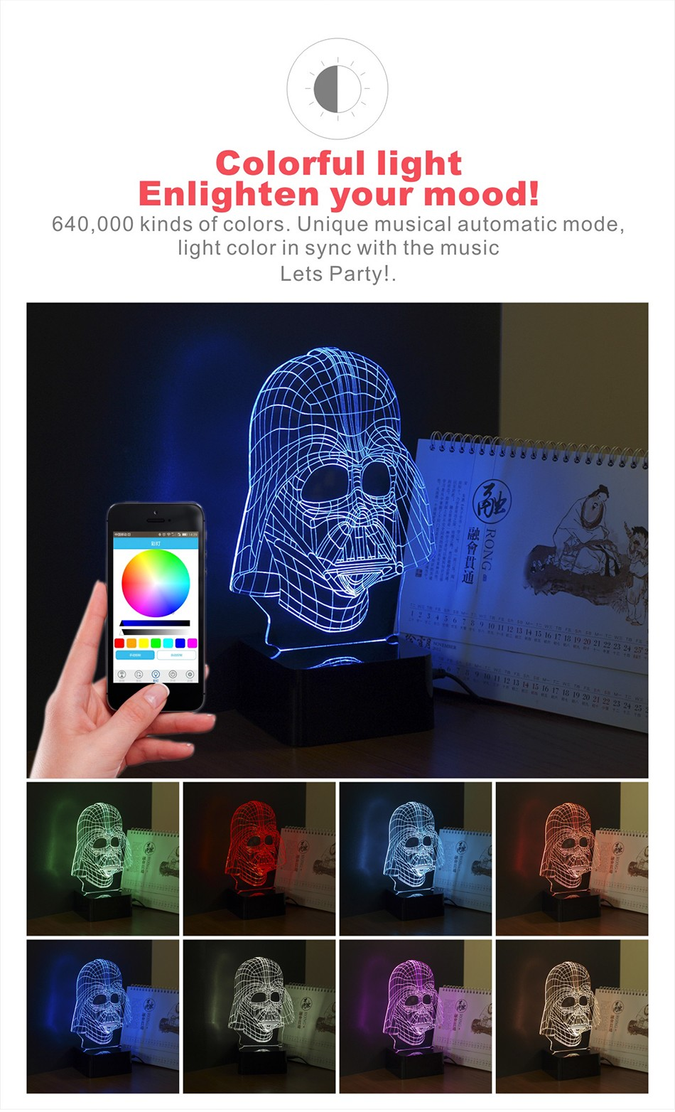 USB Darth 3D Light Star War Hero Figure Creative LED Bluetooth Music Lampara for Baby Children Besides Nightlight (2)
