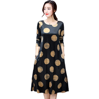 Long Sleeve Fashion Velvet Dot Dress Round Neck Loose Plus Large Size Dresses Winter Spring Women