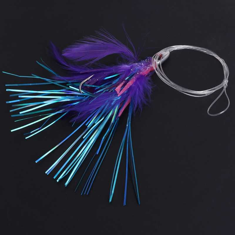 Fishing Bait With Lead Head Feather Lure Octopus Squid Trolling Skirt Accessory