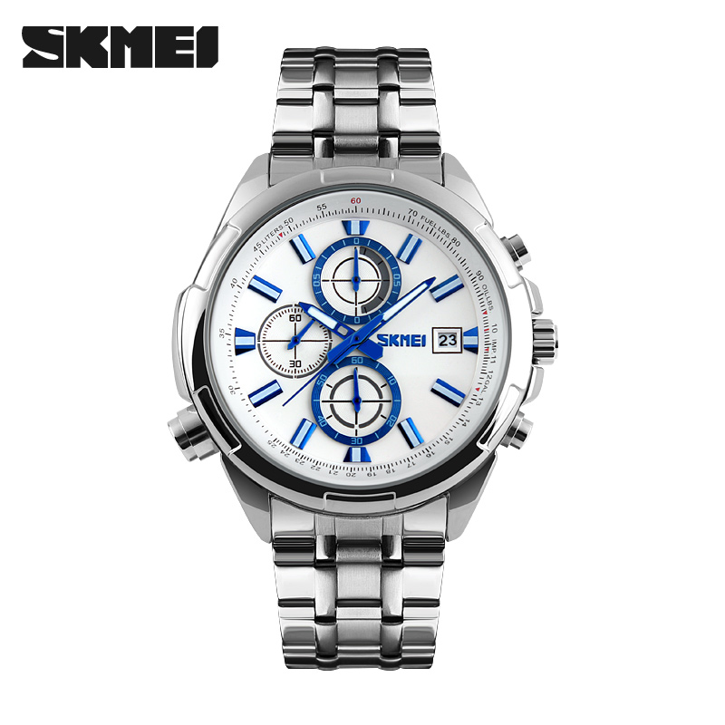 2017 New SKMEI popular Brand Men luxury Watches analog quartz 50M waterproof Wristwatches black silver stainless steel band