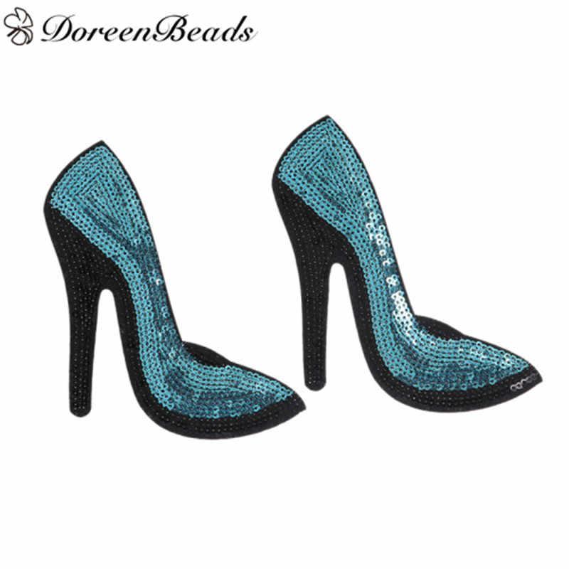 DoreenBeads Mavi Renk Yüksek Topuklu Ayakkabılar Yamalar Aplikler Demir On Payet Yama Kızlar Kadınlar için Konfeksiyon Çanta DIY El Sanatları 1 çift