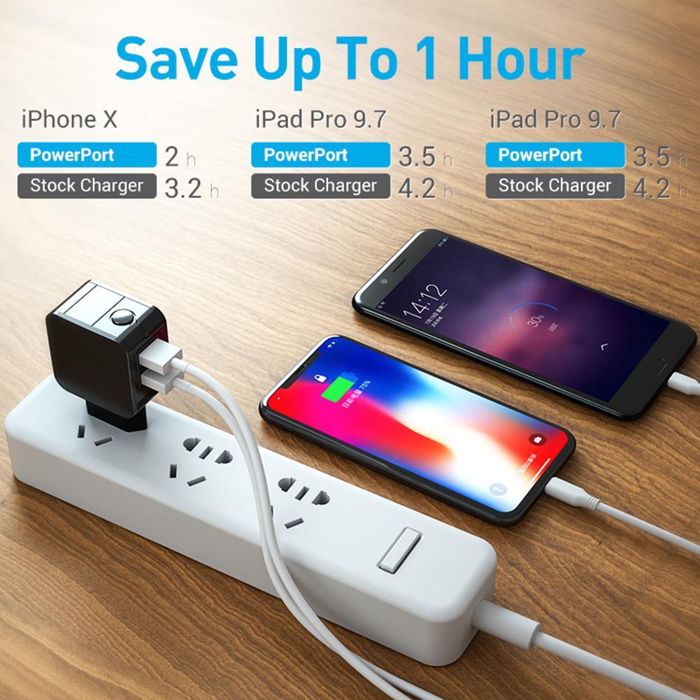 2USB charger 5V2.4A VDE Fast Charge LED Display Current Voltage Digital Flash Charging Head EU plug