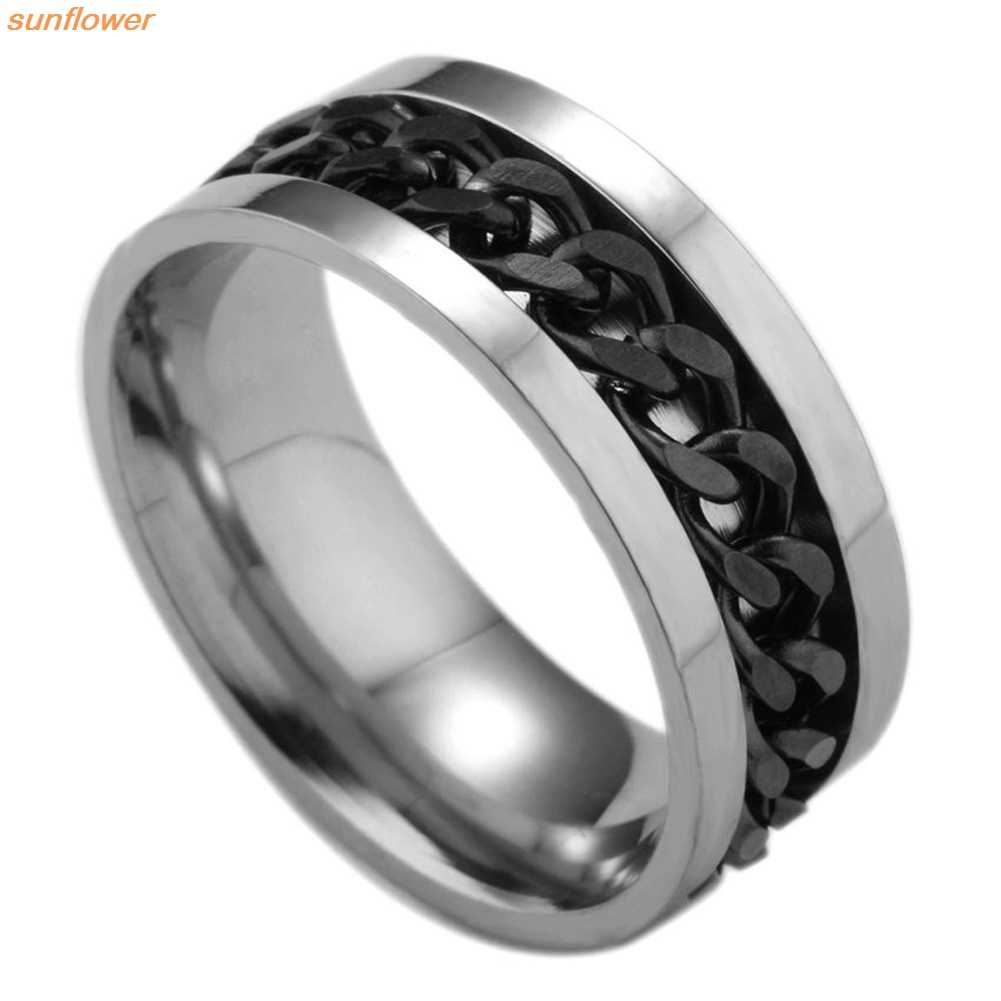 Fashion Spinner Black Chain Ring For Men Punk Titanium Steel Metal