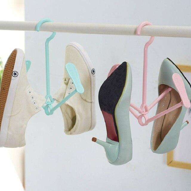2pcs Lot Shoe Hanger Rotating Portable Hanging Rack Wet And Dry Dual Use Shoes Racks Windproof Plastic Hook