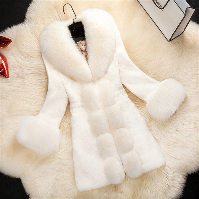 Faux Fur Long Coat Women Overcoat Autumn 2018 New Plus Size White Warm Three Quarter Fur Coat Fox Fur Collar Outerwear Women 4XL