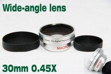 Novo Vidro Óptico Da Câmera Macro 30mm 0.45x WIDE Angle + Macro Conversion LENS + Dianteira e Traseira Caps para Frente Threads Camcorder