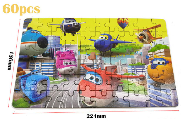 60pcs/100pcs Cartoon Super Wings Wooden Puzzle Toy 3D Puzzle Iron Box Package for Child Educational Montessori Wooden Toys