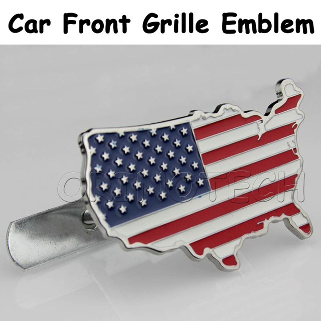 Car Styling USA American Flag Map Car Front Grille Emblem Badge - Ford vs chevy us map
