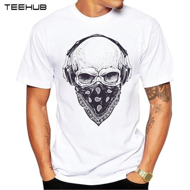 2019 Người Đàn Ông T Áo Sơ Mi Thời Trang Skull với Tai Nghe Thiết Kế Ngắn Tay Áo Giản Dị Áo Hipster Cổ Điển In T-Shirt Mát Tee