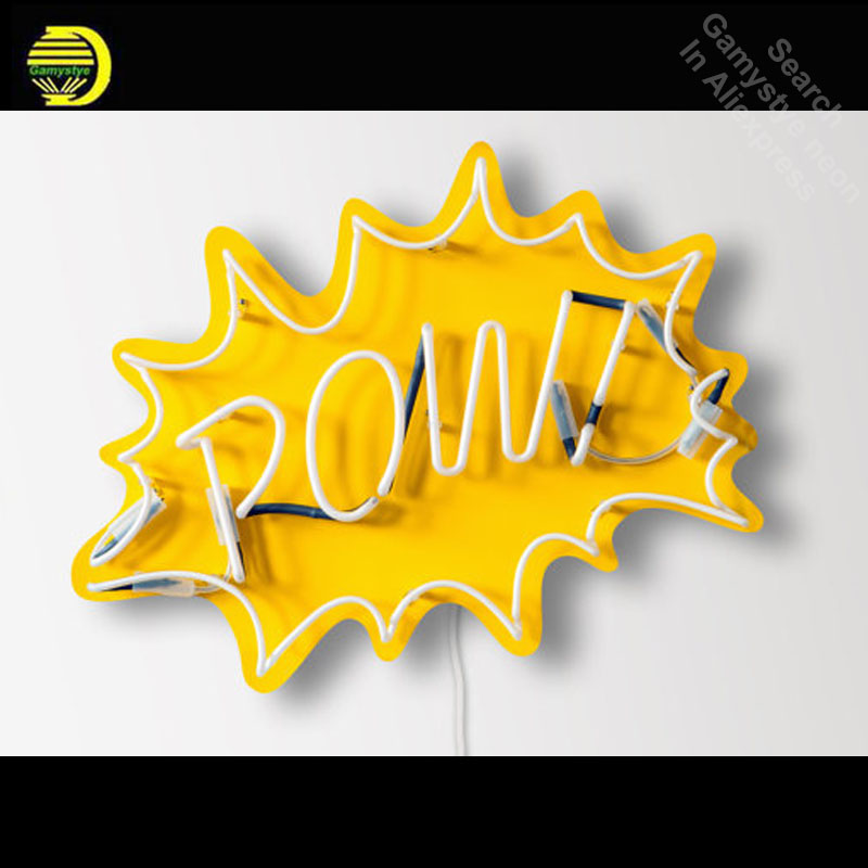 Neon Sign for POW! Pop Art Neon Bulb sign handcraft neon signboard 1950s post-war consumer boom with yellow board image