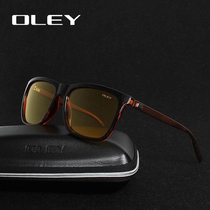 OLEY férfiak polarizált éjszakai vezetési napszemüveg Női márka tervező Sárga lencse Éjjellátó szemüveg Vezető szemüveg Védőszemüveg Csökkenti a tükröződést