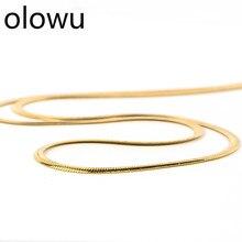 Olowu не выцветает нержавеющая сталь плоская 2 мм змея цепочка на шею для мужчин женщин золотой цвет панк воротник ожерелье s простой дизайн