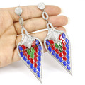 Long Big Drop Real Red Ruby, Blue Sapphire, Emerald, CZ Woman's Wedding   Silver Earrings 100x32mm