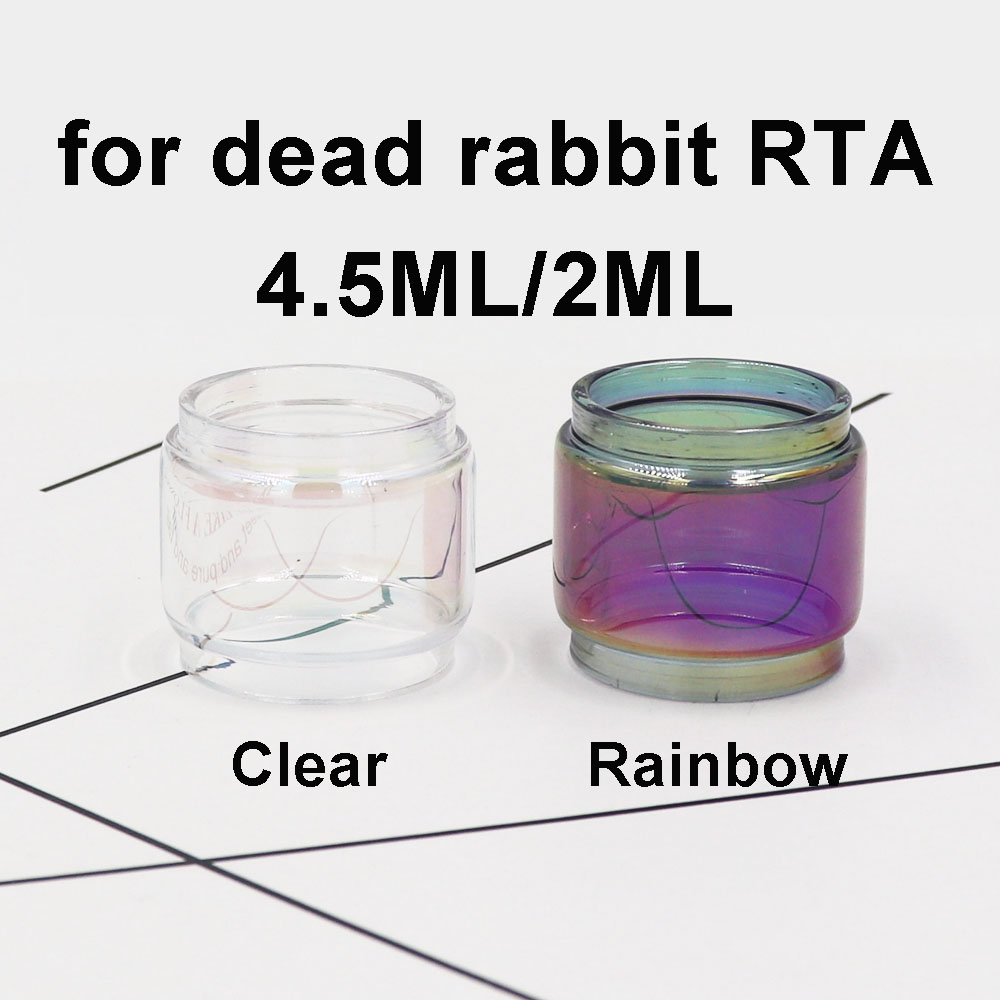 2/3PCS Replacement Rainbow Transparent Clear Bubble Fatboy Glass Tube Replacement For Dead Rabbit RTA 4.5ml/2ML