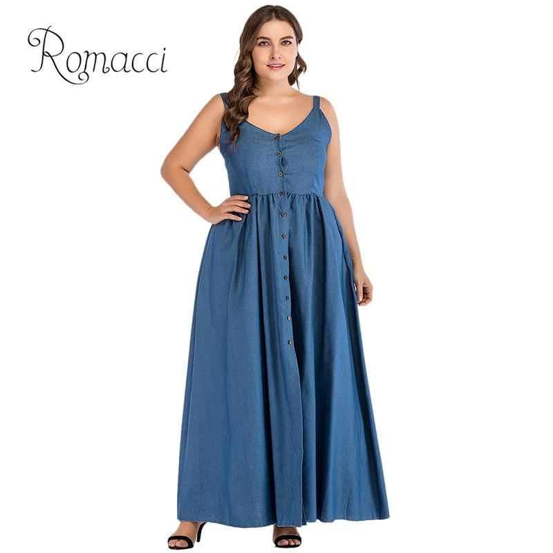 Romacci плюс размеры пикантные для женщин деним платье Макси Сарафан Спагетти ремень Кнопка Твердые разделение джинсы для Длинные