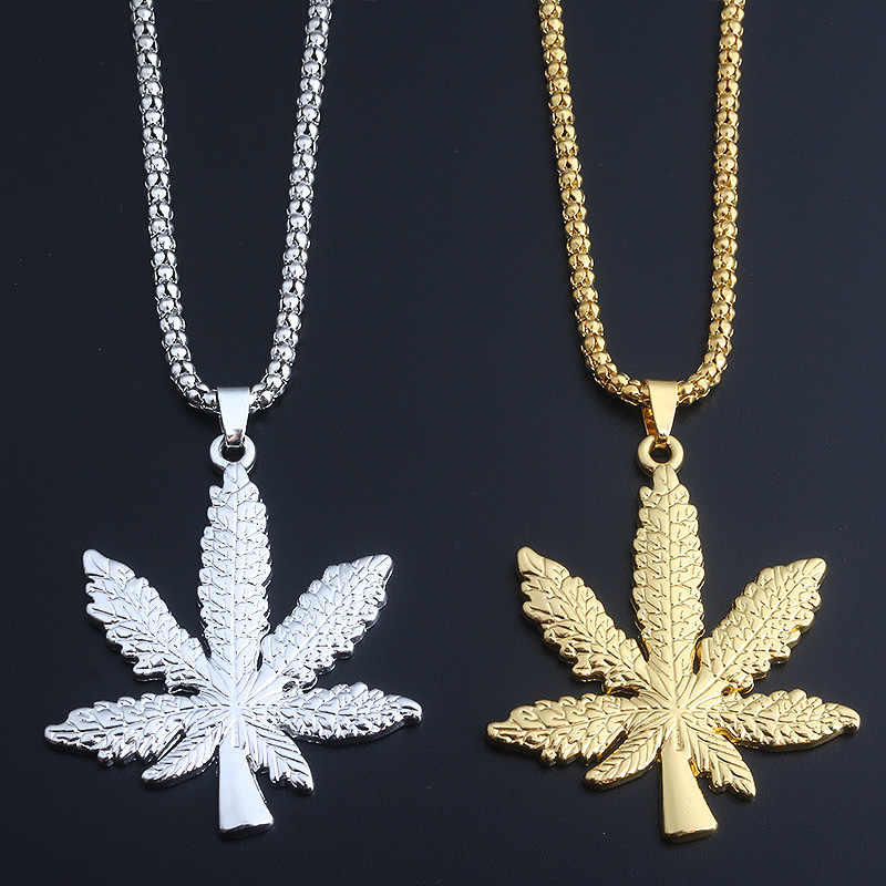 Wysokiej jakości biżuteria West coast konopie naszyjnik club hip hop street naszyjnik z jamajka reggae leaves maple leaf necklace