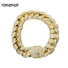 Модный кубинский золотистый браслет в стиле хип хоп 8 дюймов
