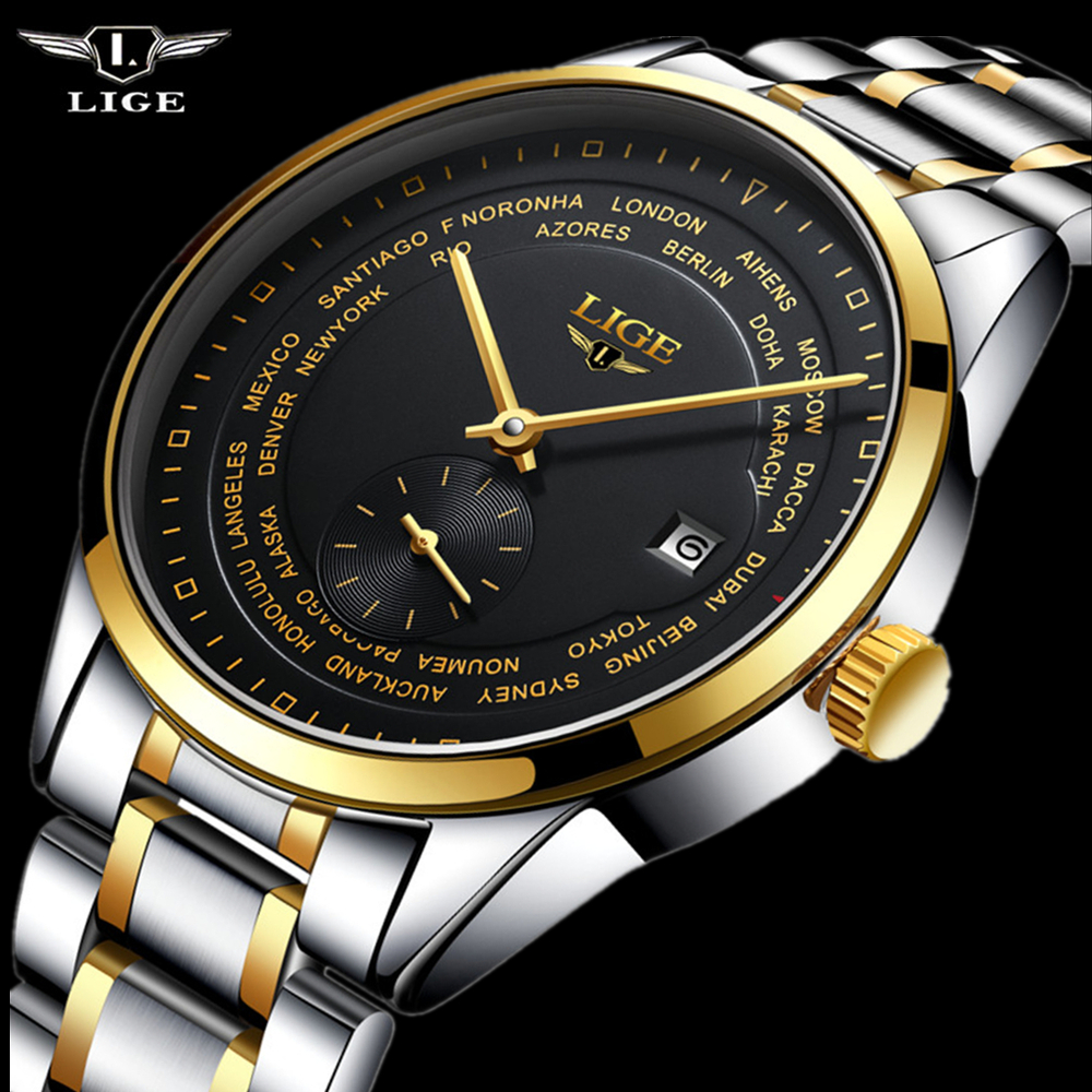 2017 Fashion luxury brand LIGE automatic mechanical watch men's Watch Men Dive 50M Fashion Casual All steel Wristwatches relogio fashion luxury brand lige steel