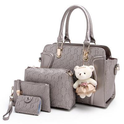 Fashion Printed Women Handbag + Message Bag+Wallet + Card holder Luxury PU Leather Crossbody Bag Set borsa donna marca famosa