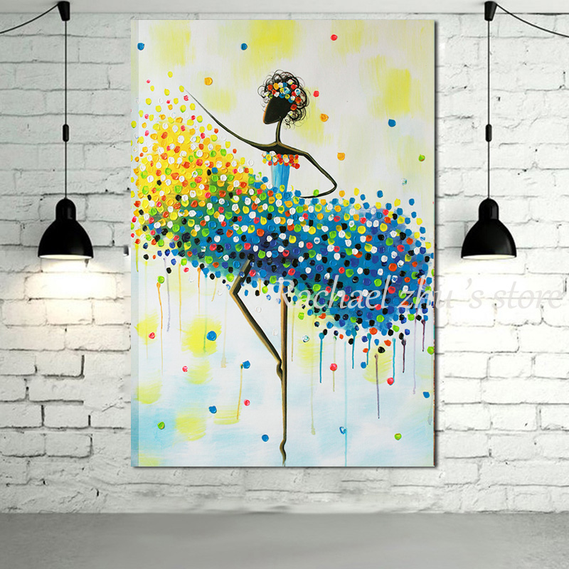 Peint à la main moderne abstraite ballerine peintures à l'huile sur toile ballerine danseur mur photos pour salon décoration de la maison-in Peinture et calligraphie from Maison & Animalerie    1