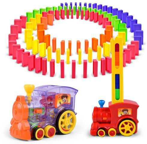 Nova colocação Automática de Dominó Trem Elétrico Com Som e Luz Modelo de Brinquedo Educativo Blocos de Construção de Brinquedo De Plástico DIY Set 100 pcs
