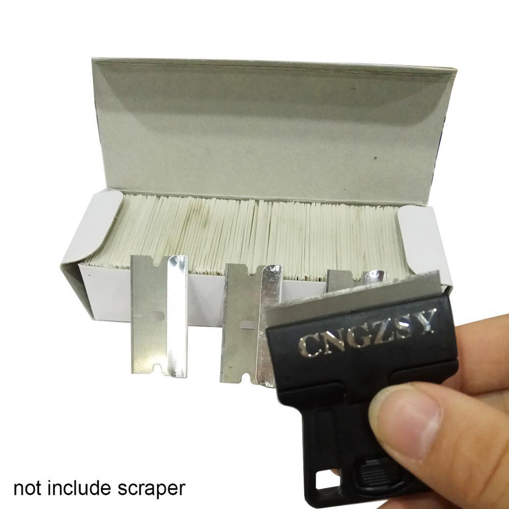 "Купить с кэшбэком CNGZSY 100PCS Carbon Steel Razor Blades 1.5"" Single Edged Tip For Automotive Glue Scraper Ceramic Oven Glass Clean Shovel E13"