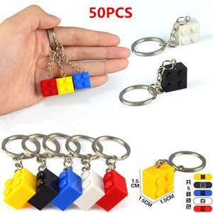 Image 5 - 50 יח\סט מפתח שרשרת בלוקים לב בריק אבני בניין בלוקים אביזרי Keychain בלוק דגם ערכות סט DIY צעצועים לילדים