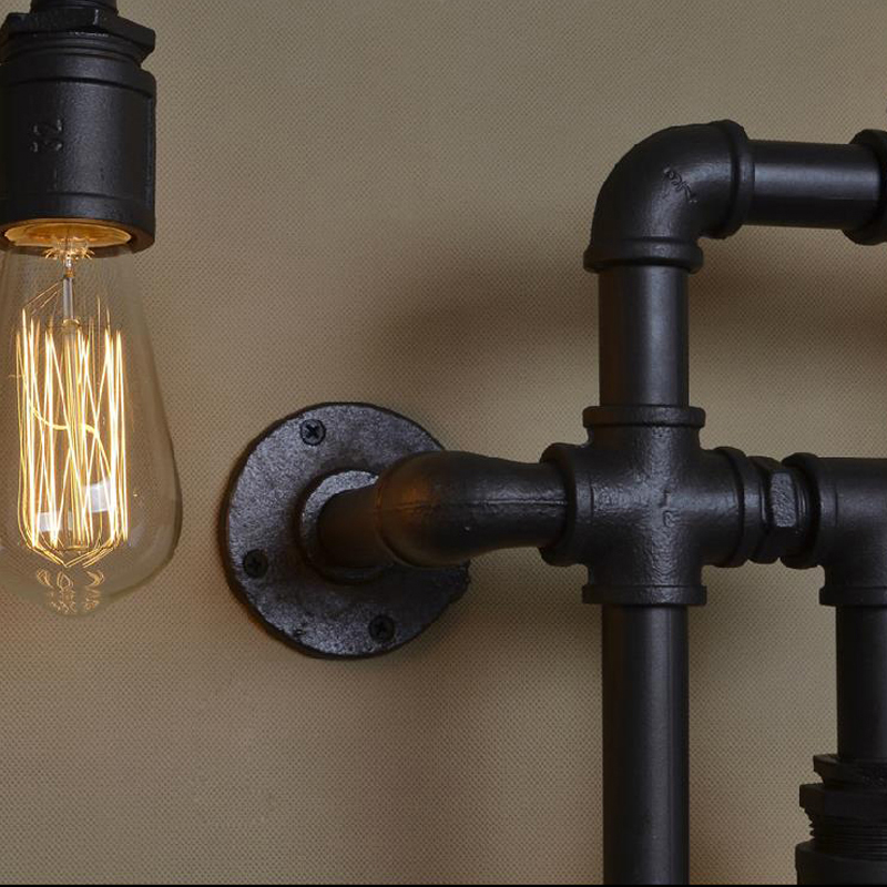 Loft Vintage Water Pipe Wall L& 5 Lights Bar Restaurant RH Iron Industrial Style E26 E27 Edison Bulbs Retro Wall Sconce L&-in Wall L&s from Lights ... & Loft Vintage Water Pipe Wall Lamp 5 Lights Bar Restaurant RH Iron ...