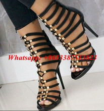 Sexy Black Braided Rope Sandals Metal Embellished Stilettos High Heeled Gladiator Sandals Women Summer Ankle Boots Shoes Woman