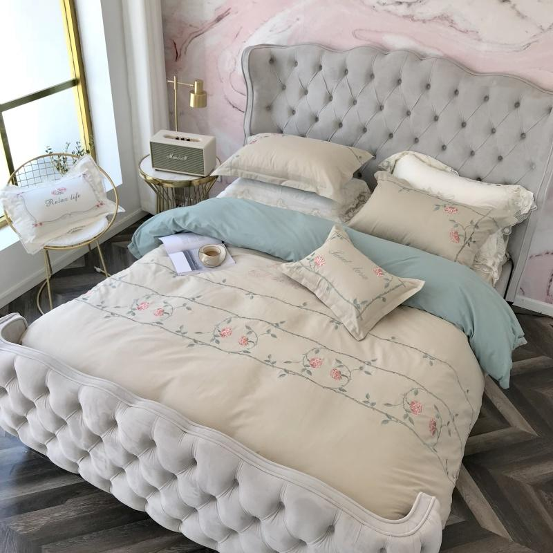 Egyptian Cotton Lace Blue Pink Princess Bedding Set Queen ...