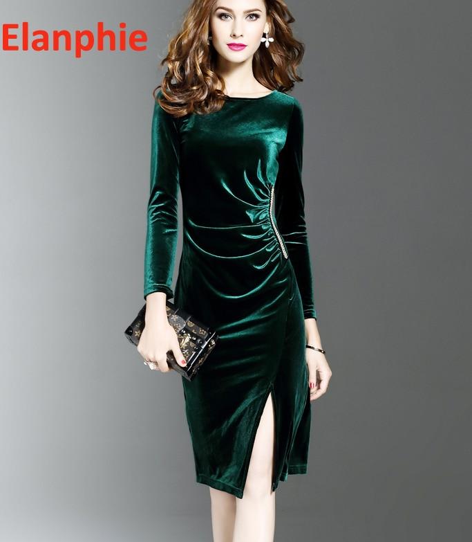 46657d166cda Knee Length midi autumn dress Wrap Front Ruched Side bodycon long sleeve velvet  dress green