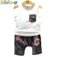 Sodawn New 2017 Summer Boys Clothing Printed Vest Pocket + Cotton And Linen Haroun Pants 2Pcs Suit Fashion Boy Clothes Sets