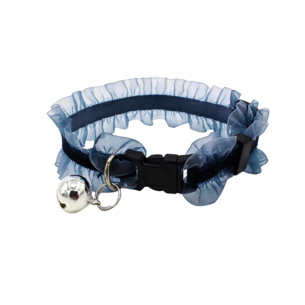犬子犬ペットの猫首輪レースフリルボタンソケットベルを新 #20190314