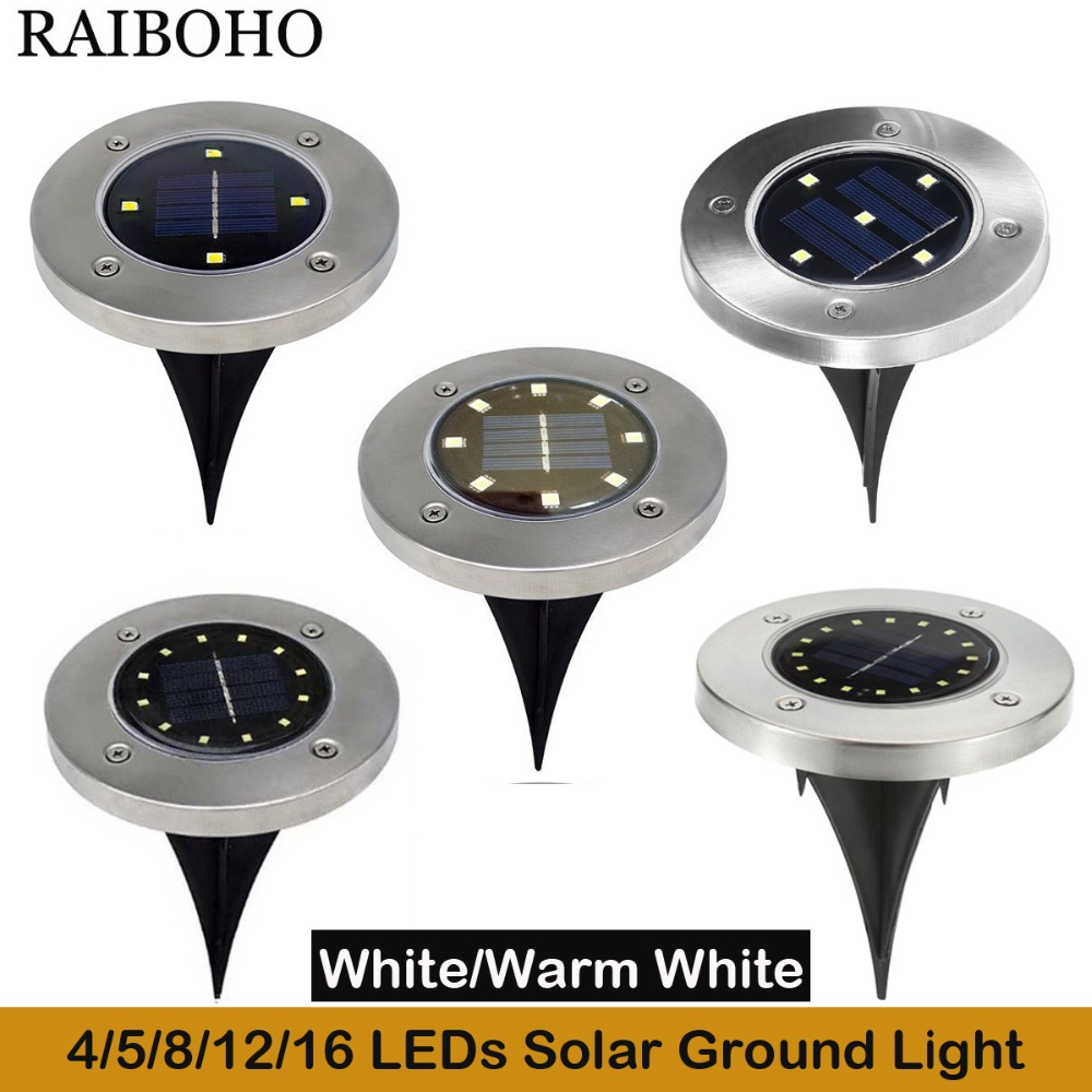 4/5/8/12/16 LED Solar Ground Light Waterproof Garden Pathway Solar Lamp for Home Yard Driveway Lawn Road White/Warm White yunlights solar ground lights waterproof 5 led landscape path light walkway lamp for home garden yard driveway lawn