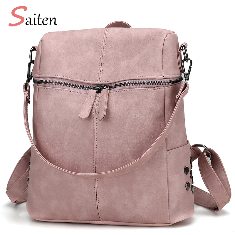 2017 Autumn Simple Style Backpack Women PU Leather Backpacks For Teenage Girls School Bags Fashion Vintage Solid Shoulder Bag