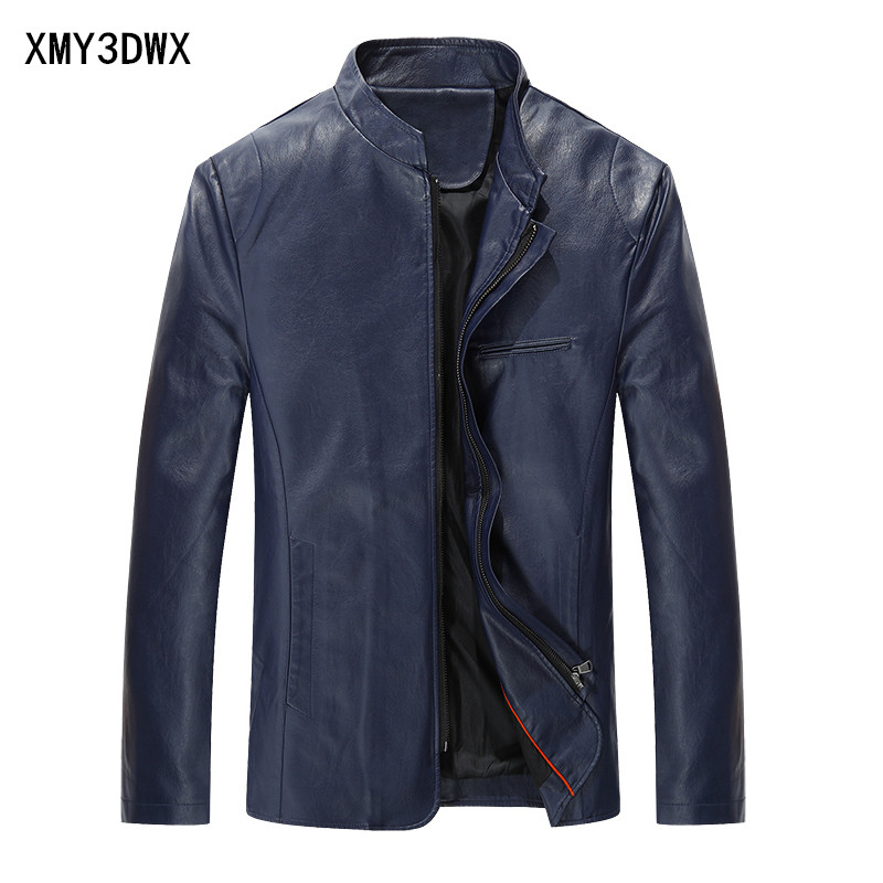 New 2017 Fashion PU Leather Jacket Men Black Red Brown Solid Mens Trend Slim Fit Youth Motorcycle Suede Jacket And Coat Male